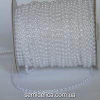 Полубусина на нитке 4 мм, белый