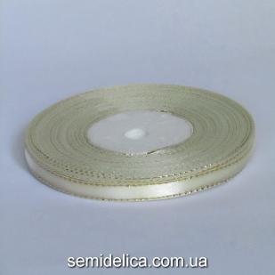 Лента атласная 0,6 см, молочный с золотым люрексом