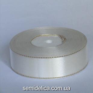 Лента атласная 2,5 см, молочный с золотым люрексом