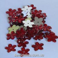 Стразы цветочек 15мм, красный