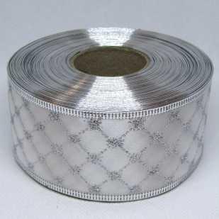 Лента атласная с проволочным краем 5 см, клетка белый с серебром