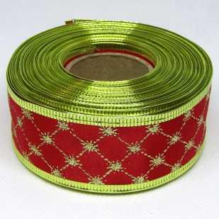 Лента атласная с проволочным краем 3,8 см, клетка красный с золотом