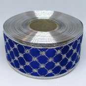 Лента атласная с проволочным краем 5 см, клетка синий с серебром