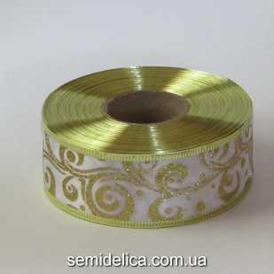 Лента атласная с проволочным краем 3,8 см, белый с золотом