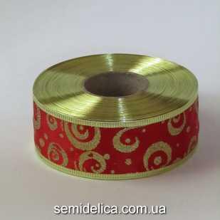 Лента атласная с проволочным краем 3,8 см, красный с золотом
