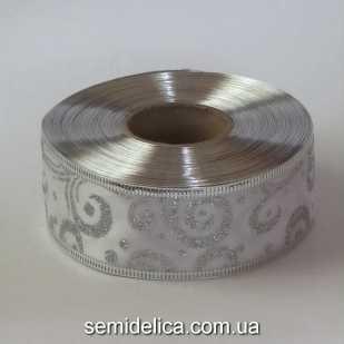 Лента атласная с проволочным краем 3,8 см, белый с серебром
