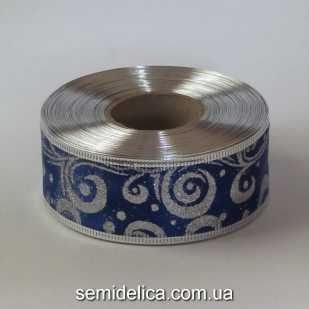 Лента атласная с проволочным краем 3,8 см, синий с серебром