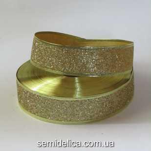Лента с проволочным краем 3,8 см, золотой глиттер