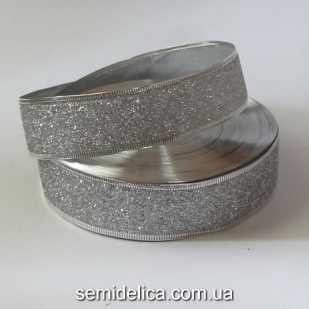 Лента с проволочным краем 3,8 см, серебряный глиттер