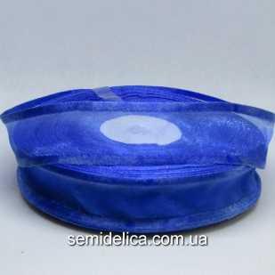 Лента органза с атласным краем 2,5 см, синий