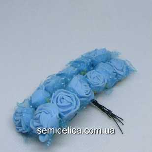 Роза из латекса в фатине 1,5 см, голубой