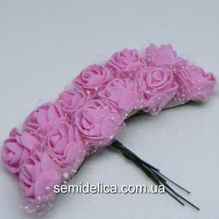 Роза из латекса в фатине 1,5 см, розовый
