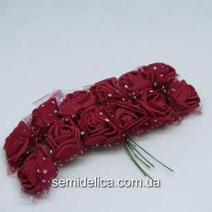 Роза из латекса в фатине 1,5 см, бордо