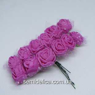 Роза из латекса в фатине 1,5 см, розовый темный