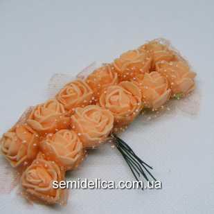 Роза из латекса в фатине 1,5 см, оранжевый