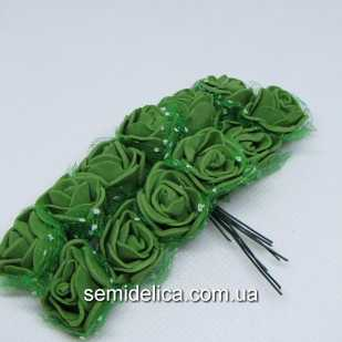 Роза из латекса в фатине 1,5 см, зеленый