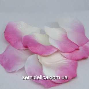Лепестки розы, розовый с белым