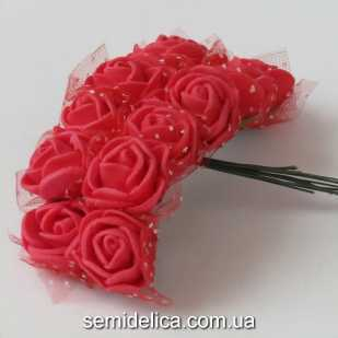 Роза из латекса в фатине 1,5 см, красный