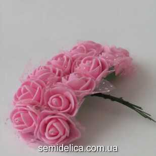 Роза из латекса в фатине 2 см, розовый нежный