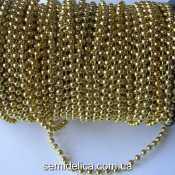Гирлянда, бусины на нитке 4 мм, золото