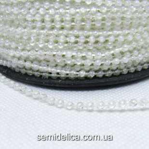 Бусины на нитке 2,5 мм, гирлянда, прозрачные с АВ блеском