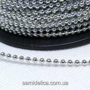 Бусины на нитке 2,5 мм, гирлянда, серебро