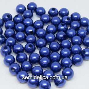 Бусины Жемчуг 8 мм, синий с блеском