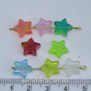 Бусины акрил 10х4 мм Звезда, цветной микс