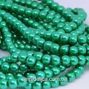 Бусины жемчуг 6 мм стеклянные, зеленый