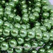 Бусины жемчуг 6 мм стеклянные, оливковый