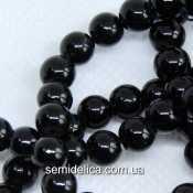 Бусины жемчуг 6 мм стеклянные, черный