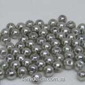 Бусины жемчуг 4 мм стеклянные, светло-серый