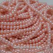 Бусины жемчуг 4 мм стеклянные, темно-персиковый