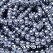 Бусины жемчуг 6 мм стеклянные, серый