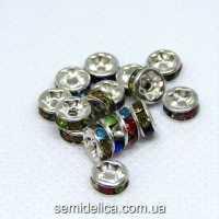 Бусины разделители со стразами 6 мм, стразы микс в серебре