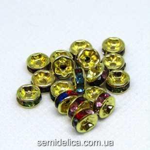 Бусины разделители со стразами 6 мм, стразы микс в золоте