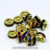Бусины разделители со стразами 8 мм, стразы микс в золоте