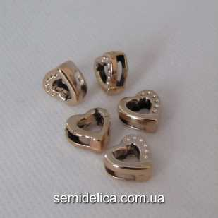 Бусина, разделитель Сердечко 12х12 мм, золото