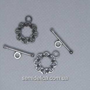 Застежка тогл металл Цветочек 19х15 мм и 21х6 мм, серебро