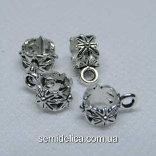 Бейл, основа для кулона, подвески 11х4х6 мм, серебро