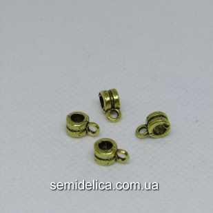 Бейл, основа для кулона, подвески 9х4х5 мм, золото