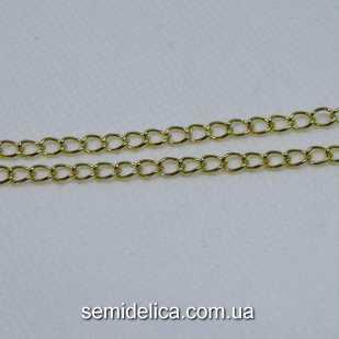 Цепь металл витое плетение, звено 6х4х0,7 мм , золото