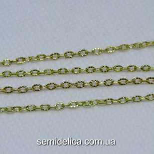 Цепь металл якорное плетение, звено 3х2 мм , золото
