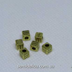 Бусины разделители металл 4,5 мм Кубик, золото