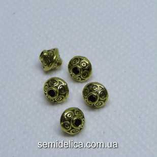 Бусины разделители металл 7х6 мм Рондель, золото