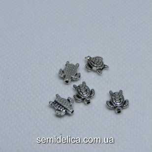 Бусины разделители металл 9х8 мм Черепаха, серебро