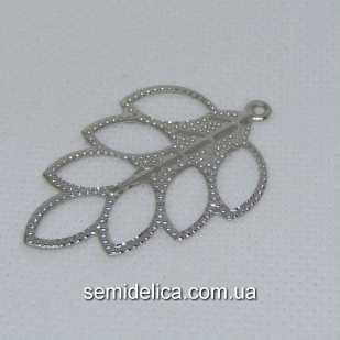 Кулон, подвеска металл 4,5х2,9 см Листочек, серебро