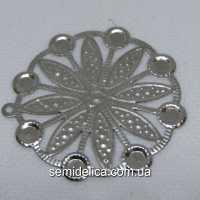 Кулон, подвеска металл 4,5 см, серебро