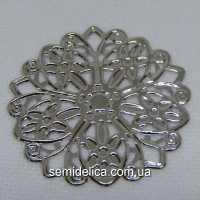 Кулон, подвеска металл 4,6 см, серебро