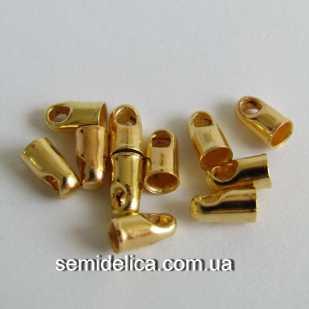 Концевик, колпачок для шнура, ленты 6х3 мм, золото